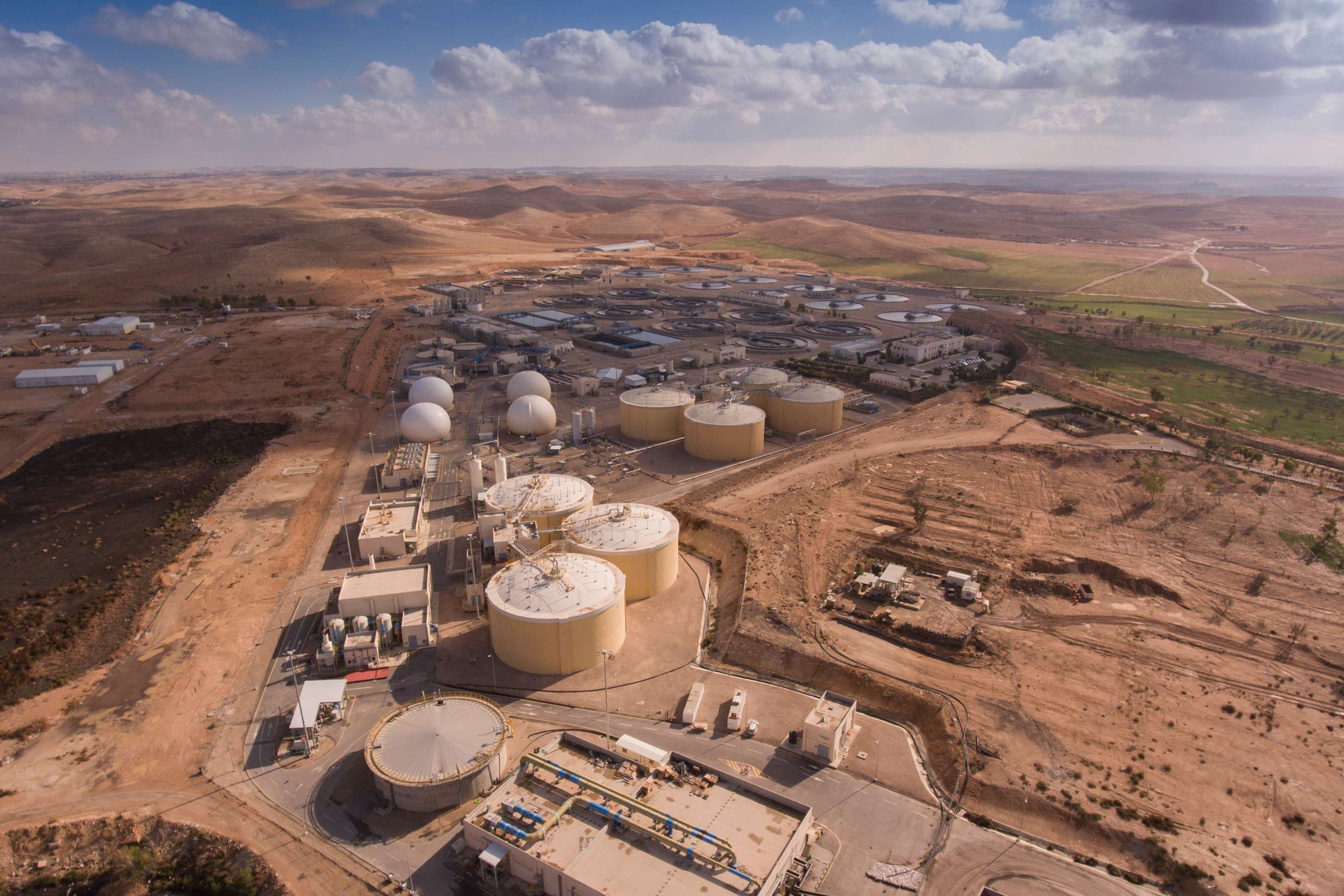 The As‑Samra Wastewater Treatment Plant expansion project significantly increased the plant's capacity to treat wastewater and produced much-needed treated water for farm irrigation in the Jordan Valley, freeing up fresh water for household use.