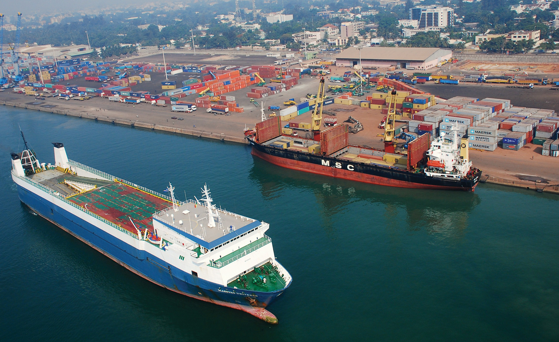 Photo of Benin's Port of Cotonou—modernized as part of MCC's 2006 Benin Compact—is a pillar of Benin's economic growth and serves as a gateway to international trade for the landlocked West African countries of Burkina Faso, Mali and Niger as well as a central pathway for international trade with Nigeria. MCC's $188 million investment in Benin aimed to expand port capacity, improve port security, and increase port efficiency.