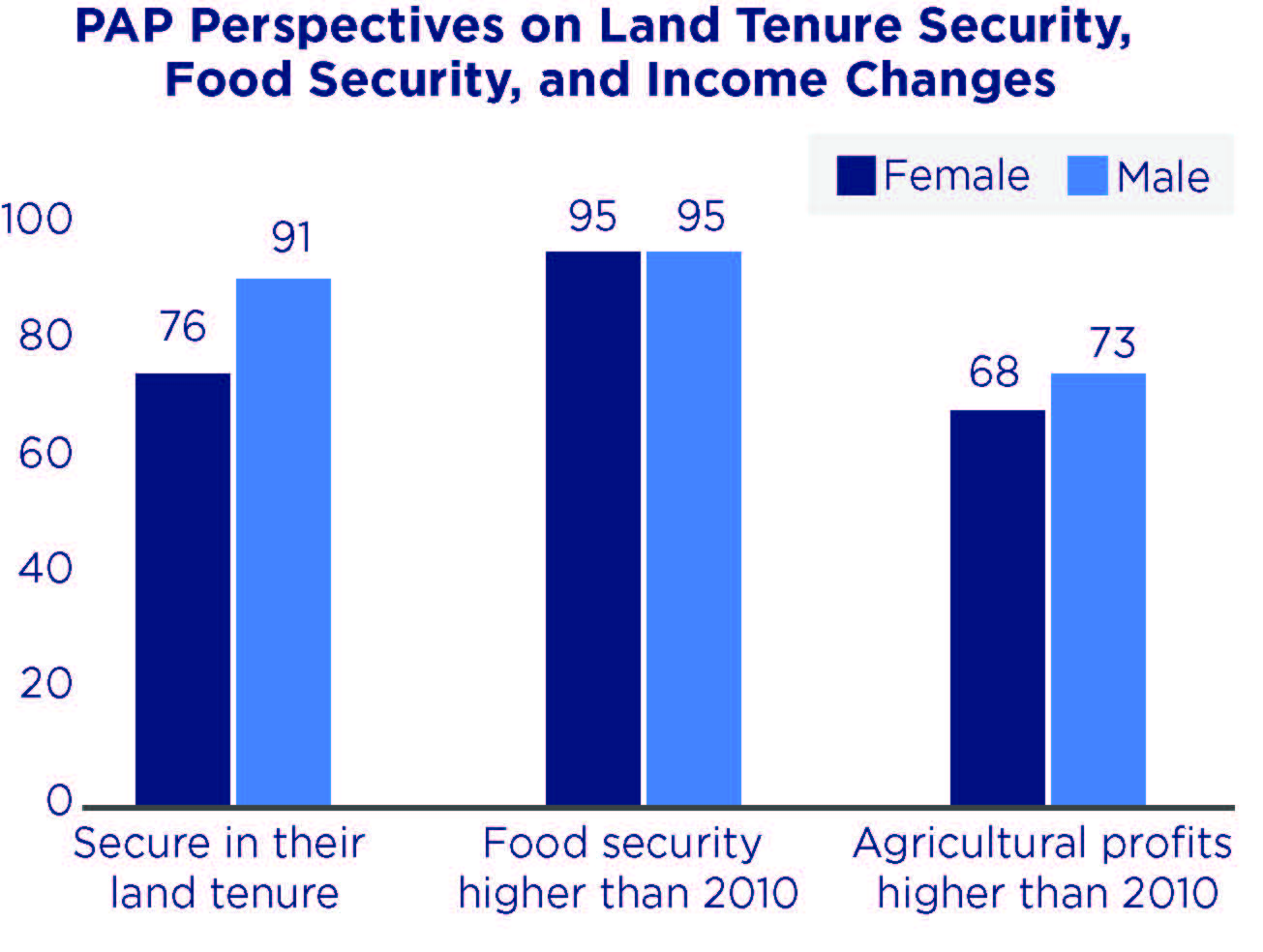 Chart on PAP Perspectives on land tenure security, food security, and income changes.
