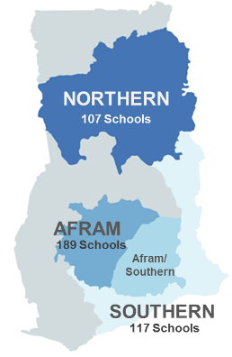 There were 107 schools surveyed in the northern district, 189 in Afram and 117 in Afram Southern