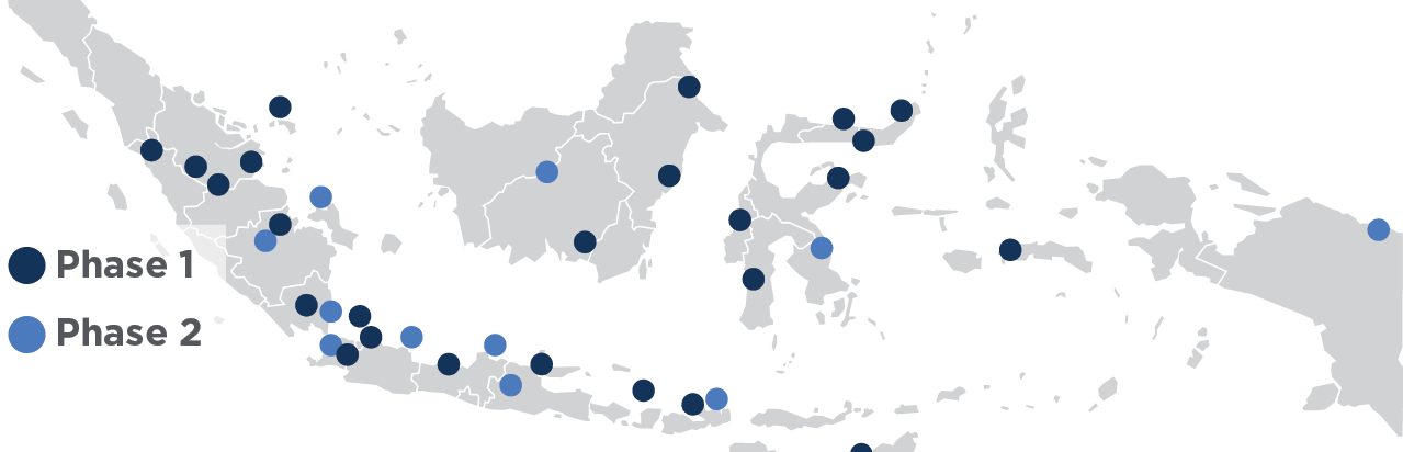 Map of Indonesia with implementation locations and phases