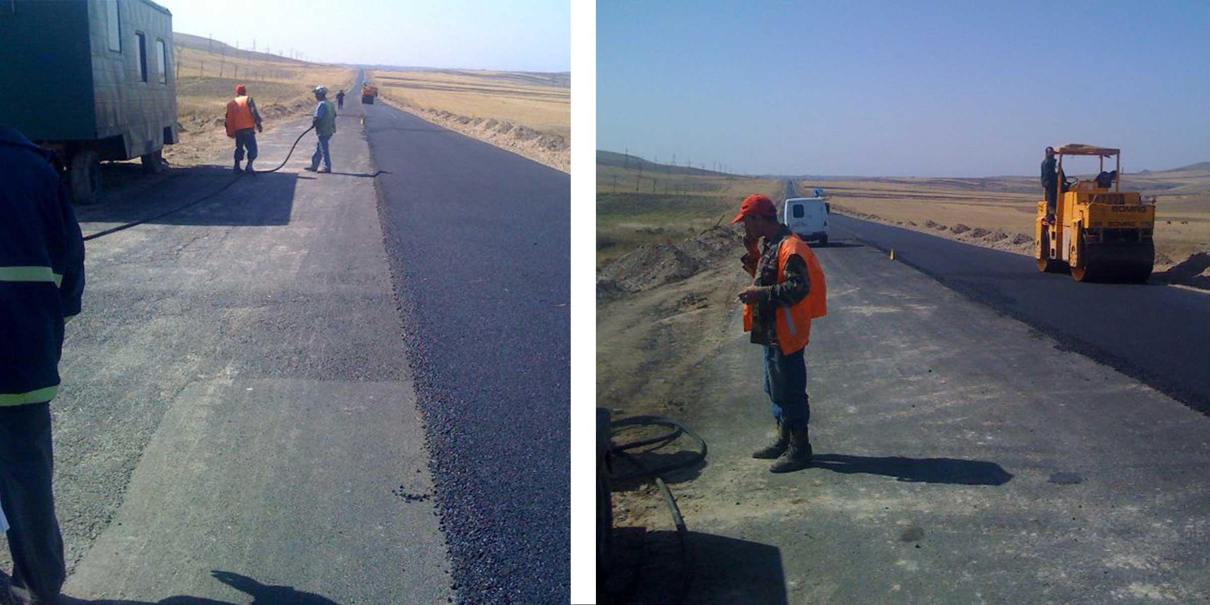 Workers improving roads in Armenia.
