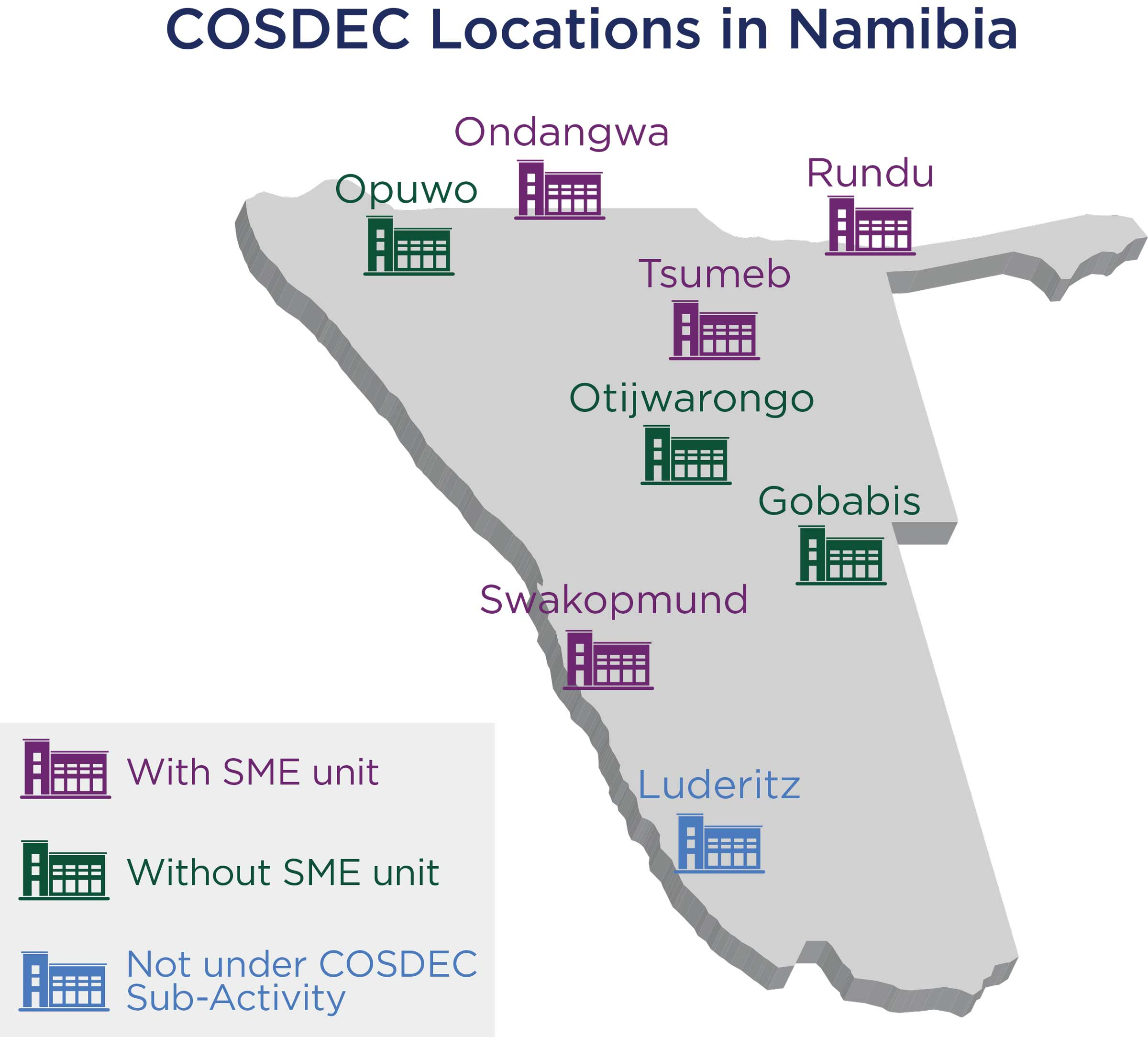 Map of COSDEC training locations in Namibia