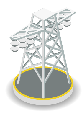Illustration of an electricity transmission tower
