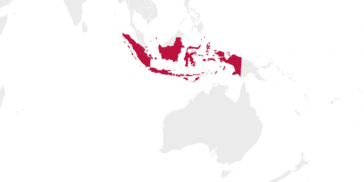 World map highlighting the country of Indonesia.