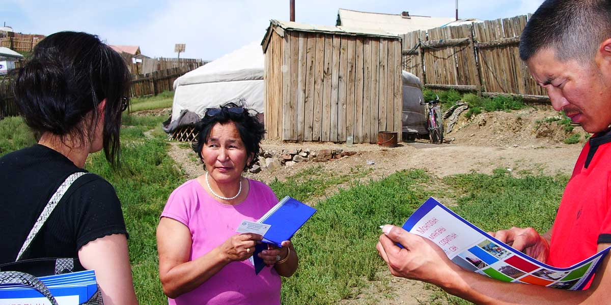 Mongolia people reviewing land