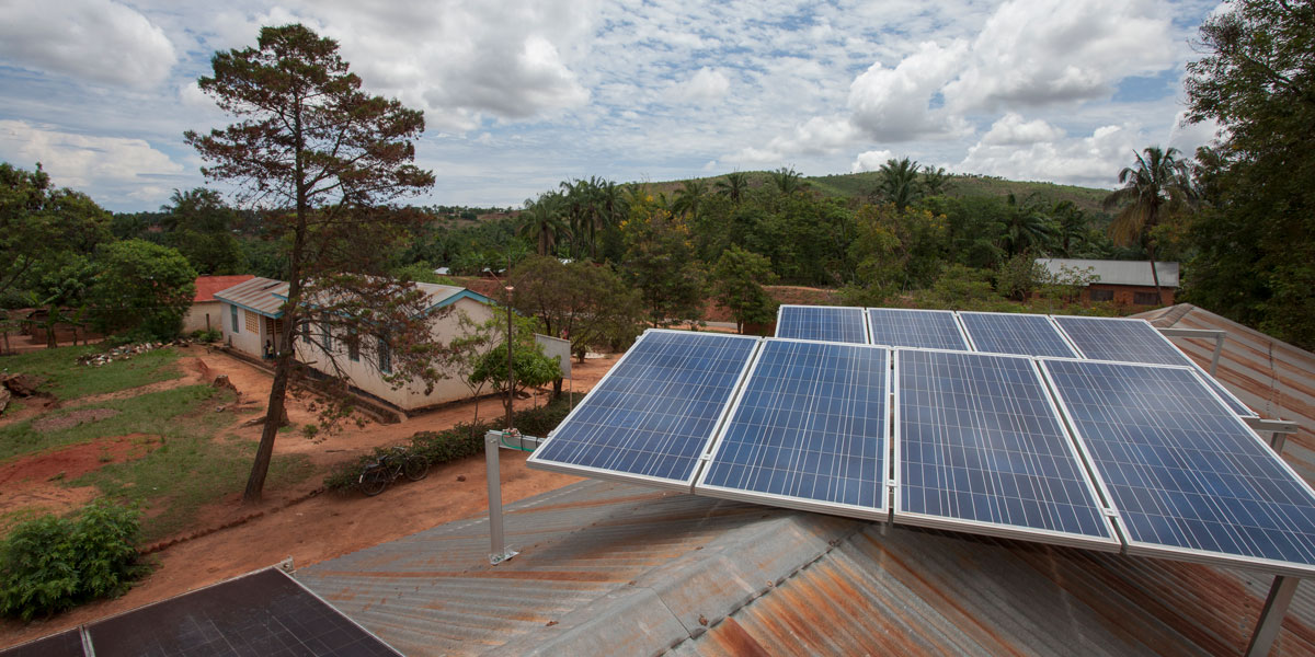 Solar panels on the roof of a health facility in Tanzania.