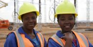 Workers pause for a portrait at the 400kv Nkhoma Substation, part of MCC's $350.7 million compact with Malawi.