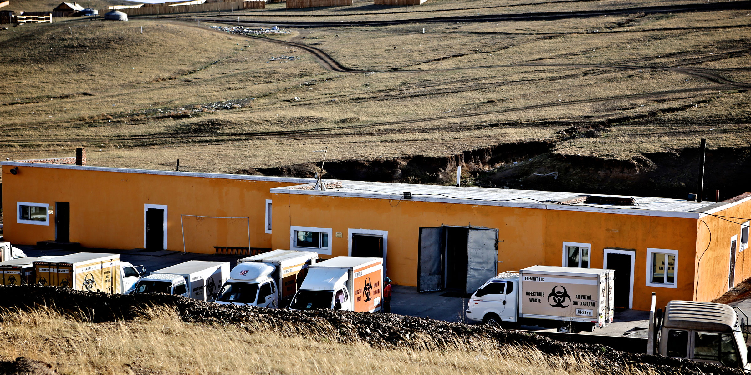 Infectious waste trucks in Mongolia.