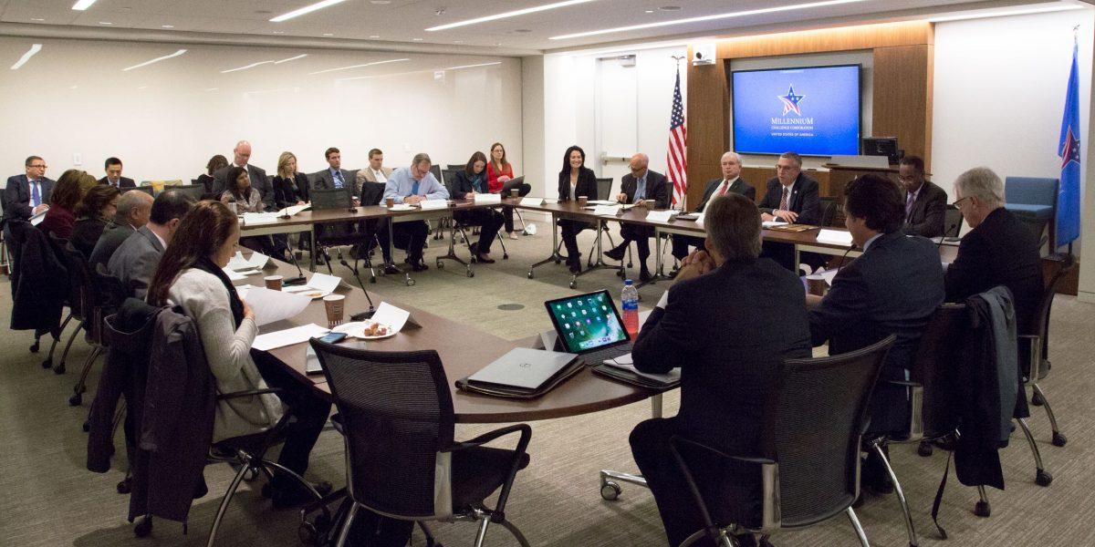 Members of MCC's Advisory Council meet in Washington, DC on April 17, 2018.