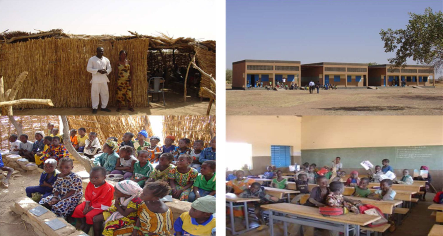 Before and after photos in Burkina Faso of a traditional school with a basic structure and lack of proper desks and chairs, and a newly-constructed BRIGHT program school with modern brick structure and classrooms with desks and chairs.