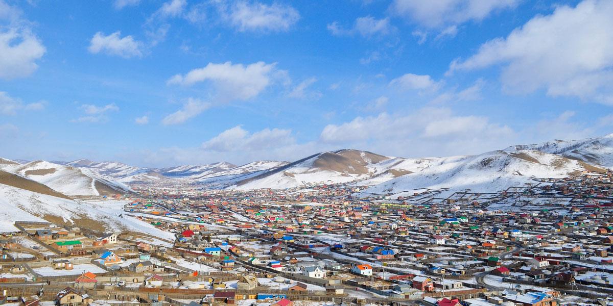 Panoramic photo of Ulaanbaatar, Mongolia suburb area.