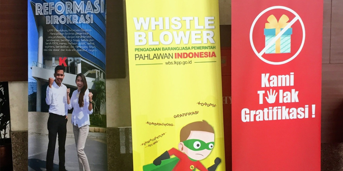 Posters discouraging government corruption in Indonesia.