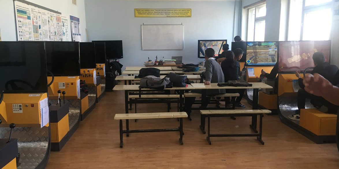 training classroom with equipment simulators in Mongolia.