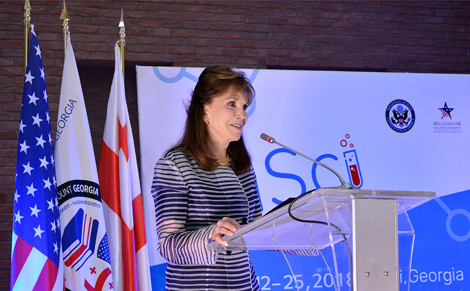 Photo of Cynthia Huger, MCC Vice President and Chief Financial Officer, gives remarks at the WiSci Georgia closing ceremony.