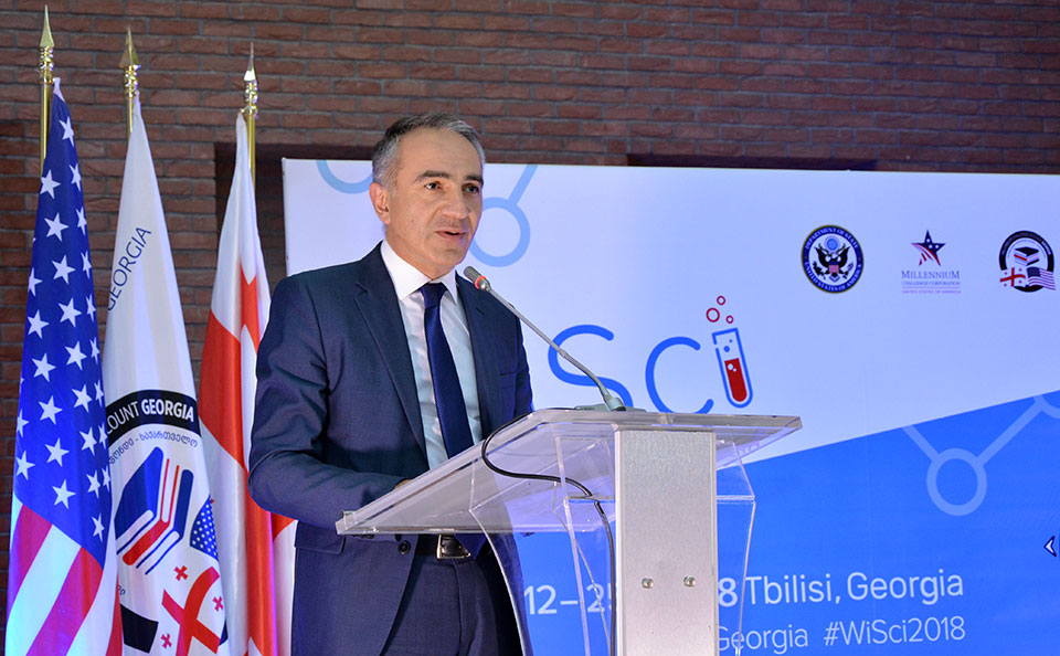 Photo of Mikheil Batiashvili, Minister of Education, Science, Culture and Sport, gives remarks at the WiSci Georgia closing ceremony.