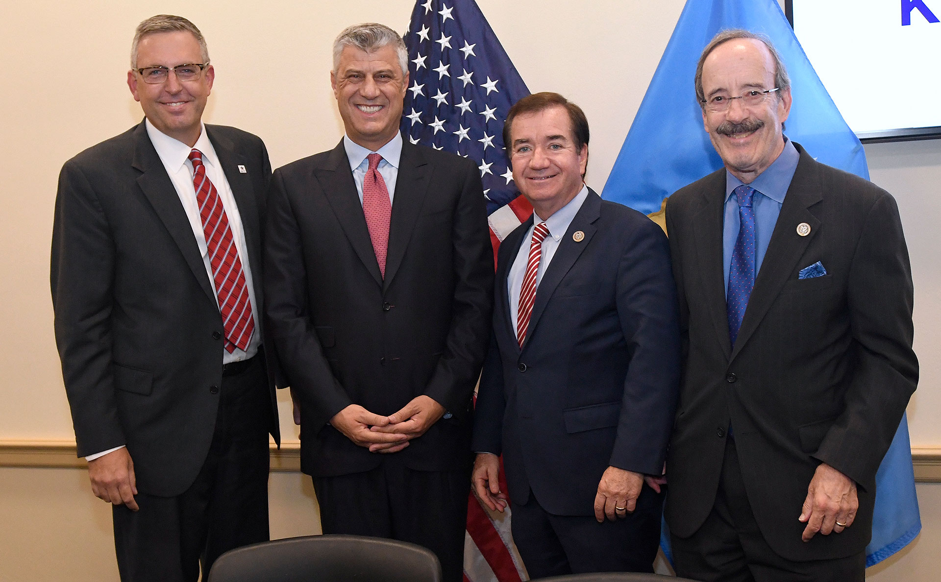 From left, Jonathan Nash, acting CEO of Millennium Challenge Corporation, Kosovo President Hashim Thaci, Rep. Ed Royce of California and Rep. Eliot Engel of New York stand together after Nash and Thaci signed the Kosovo Threshold Program, Tuesday, Sept. 12, 2017 in Washington, D.C.