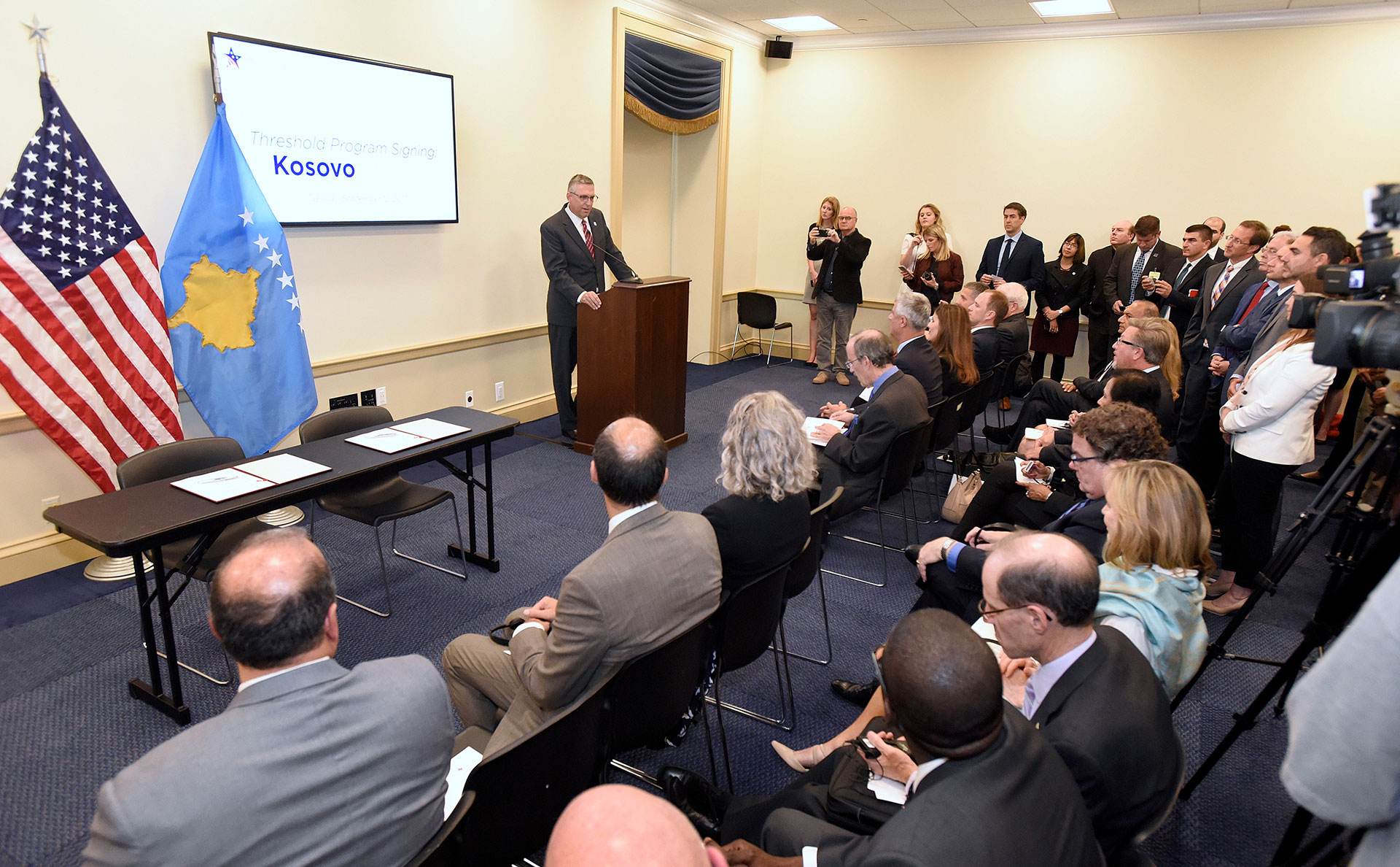 Jonathan Nash, acting CEO of Millennium Challenge Corporation, speaks before signing the Kosovo Threshold Program, Tuesday, Sept. 12, 2017 in Washington, D.C.