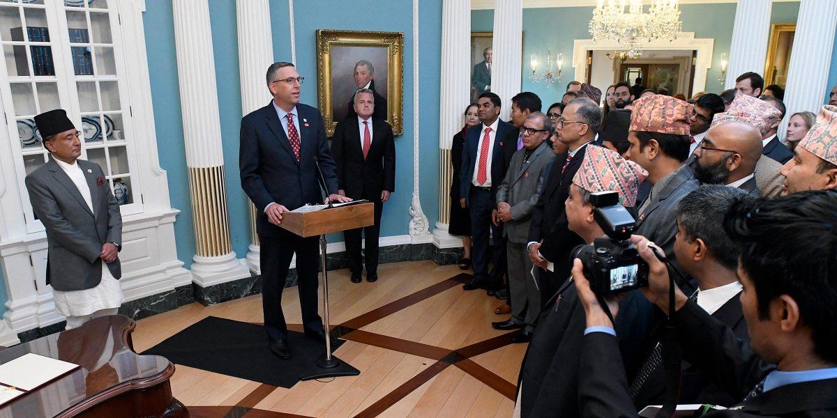 MCC Acting CEO Jonathan Nash, center, delivers remarks at the signing alongside Nepali Finance Minister Gyanendra Bahadur Karki, left, and Deputy Secretary of State John J. Sullivan, right. Photo: Steve Ruark for MCC