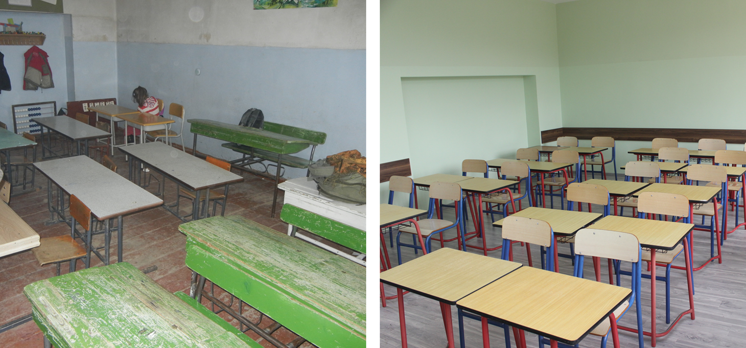 classroom images before and after rehabilitation