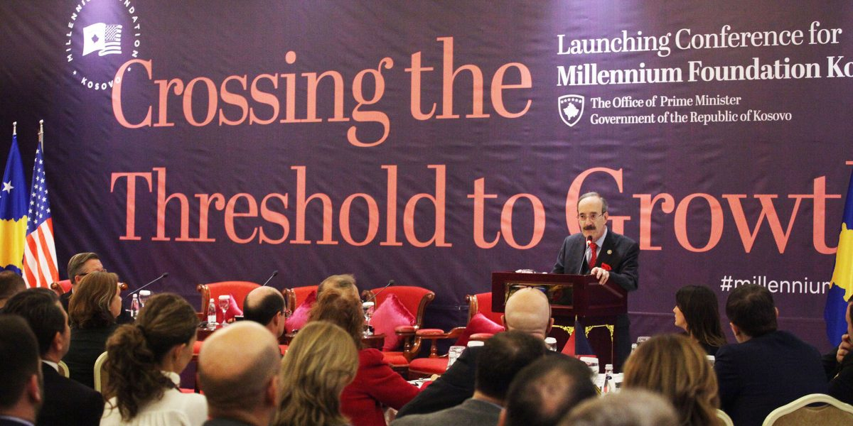 Congressman Eliot Engel of New York addresses audience at the launch of the Millennium Foundation Kosovo, a Kosovo-led entity established by the Government of Kosovo to implement MCC's new $49 million Kosovo Threshold Program, on November 14 in Pristina, Kosovo.