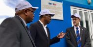 MCC DCO VP Robert Blau at the water network inauguration ceremony with Cabo Verde PM Ulisses Correia e Silva and São Domingos Mayor Clemente Garcia.