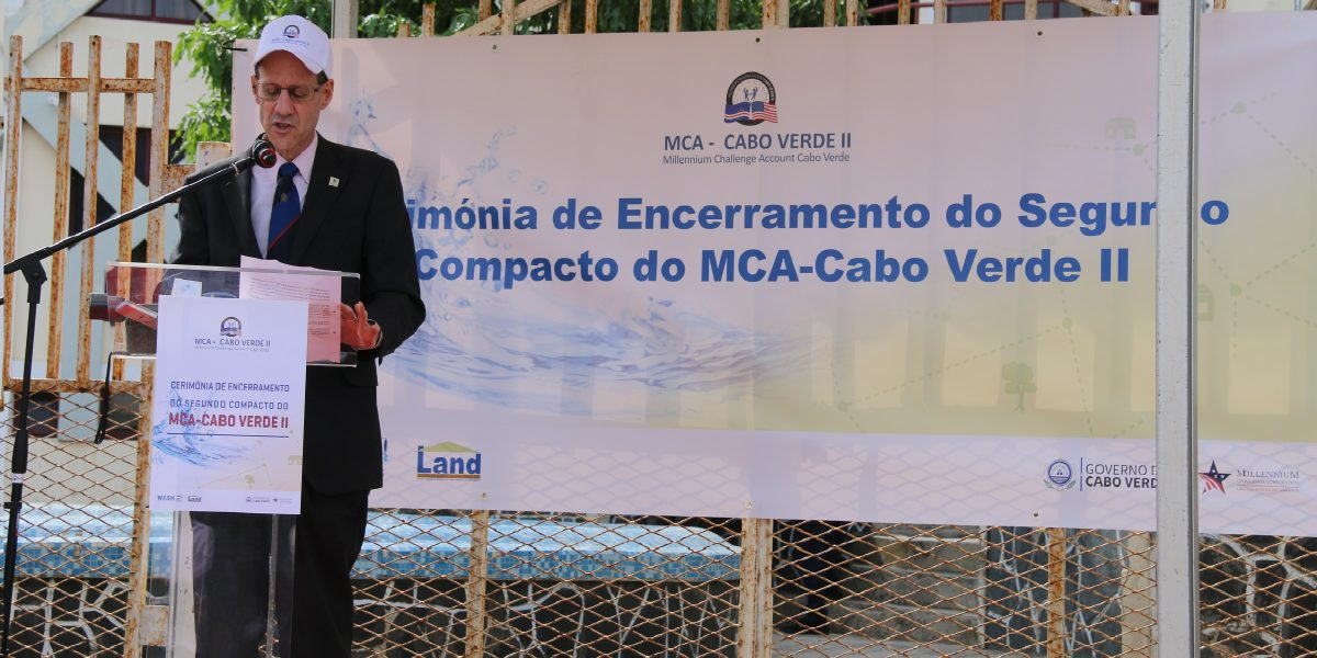 MCC Vice President for Compact Operations Robert Blau highlights MCC's investments in water and sanitation and land management and the impact they're having at a compact closeout celebration in São Domingo, Cabo Verde.