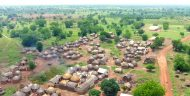 An overhead view of a small village in Ghana