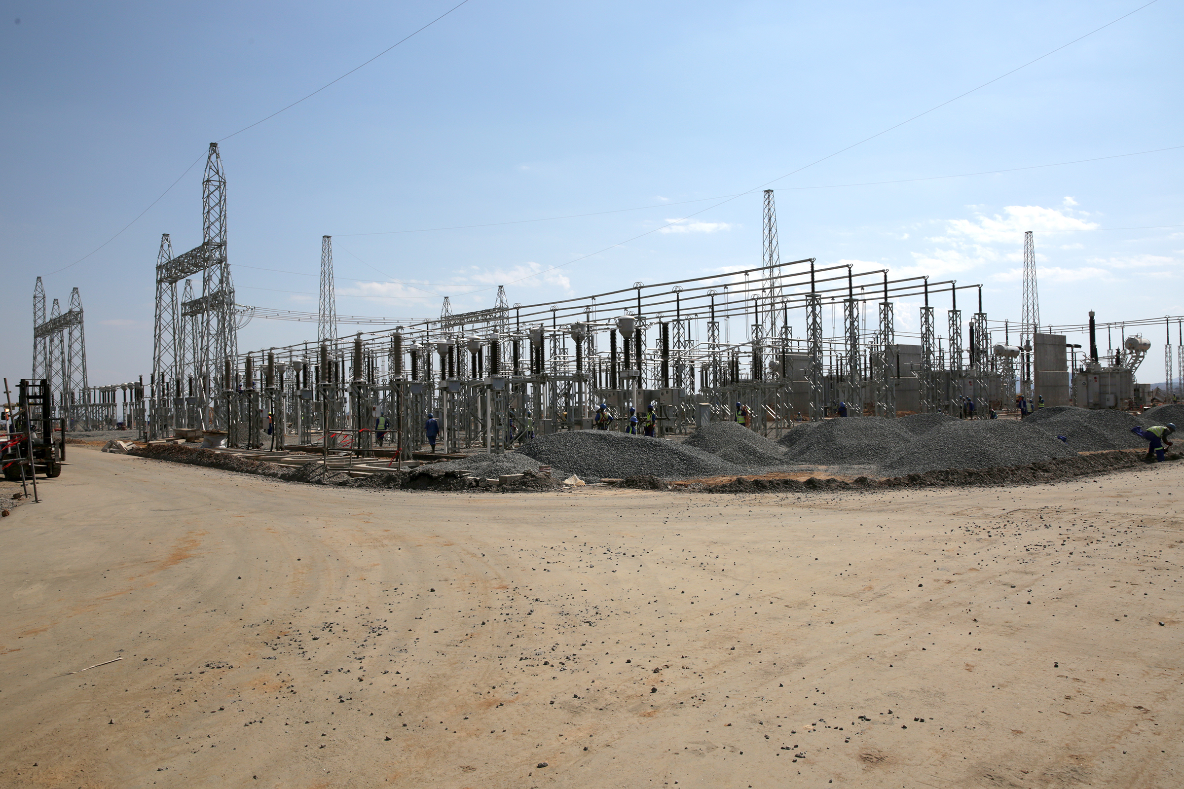 Wide-angle photograph of transmission substation