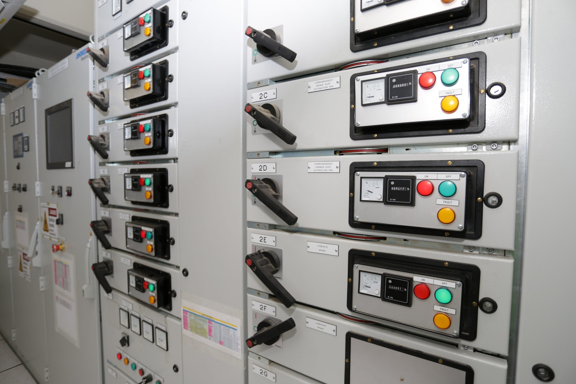 Photograph of control switches at the Nkula A hydropower station