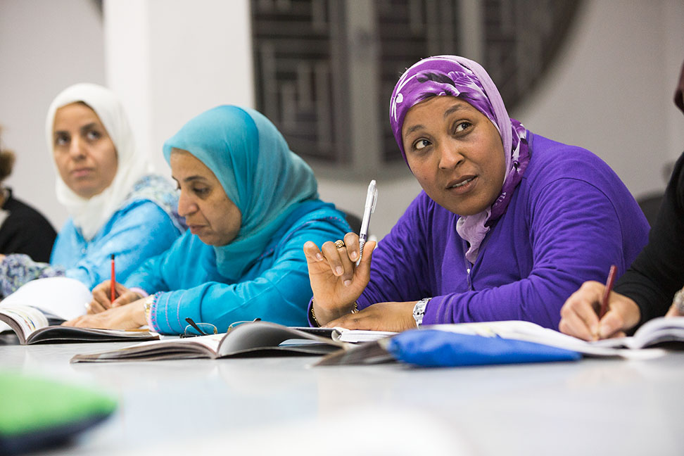 Photo: These local women were among tens of thousands of adults learning to read at MCC-funded functional literacy classes in Agadir, Morocco.