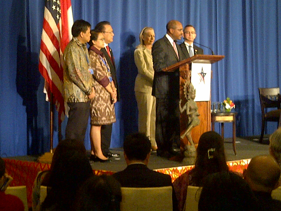 MCC CEO Daniel W. Yohannes speaks at the Indonesia compact signing.