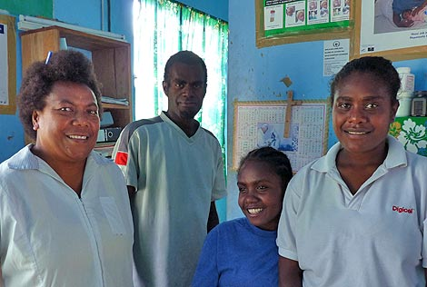 With the improved road conditions, medical professionals like Marie Michelle (left), a midwife and health dispensary supervisor at Port Olry Medical Center, have a better chance of helping expecting mothers make it to the main hospital in Luganville during difficult labors.