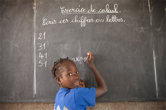 Photo: A girl in school in Burkina Faso