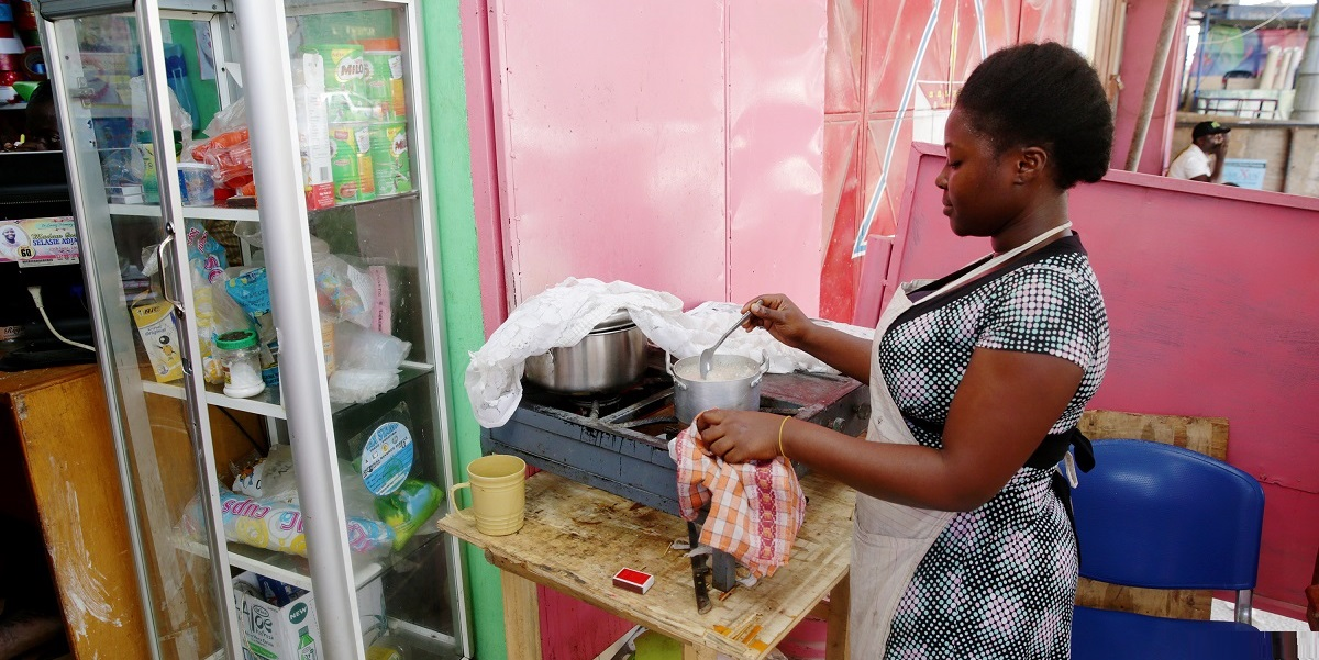 MCC Abena (pictured) and her mom run Partmor's Snacks, a small catering shop in Accra New Town, Ghana, that has suffered financial losses because of regular power outages. As part of MCC's Ghana Power Compact, targeted infrastructure investments and power sector reforms are helping to deliver more reliable and affordable power to Ghana's businesses.